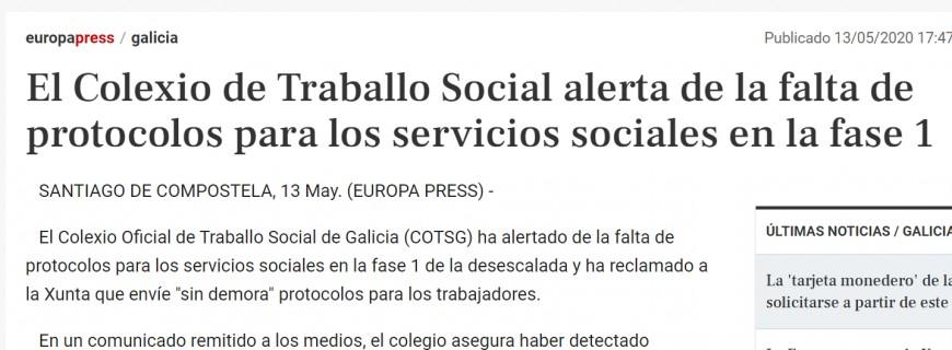 Varios medios recolleron a nota de prensa que enviamos sobre a ausencia de protocolos para servizos sociais na fase 1